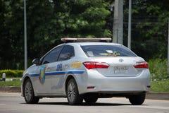 Polisbil av den turist- polisen Toyota Corolla Altis Royaltyfri Fotografi