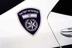 Polisbil i Israel Slapp fokus arkivbild