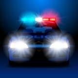 Polisbil i natt med ljus i frontal sikt stock illustrationer