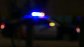 Polisbil med siren som är defocused royaltyfria bilder