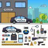 Polisbil nära polisen Arkivbild