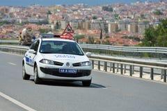 Polisbil på den turkiska vägen Fotografering för Bildbyråer