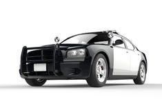 Polisbil på vit bakgrund Arkivbild