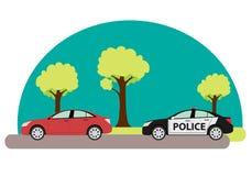 Polisbil som förföljer brottslingen Fotografering för Bildbyråer
