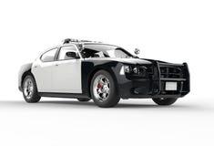 Polisbil utan för dekaler framdelskottet långt Royaltyfria Bilder