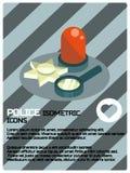 Polisen färgar den isometriska affischen Royaltyfria Bilder