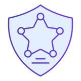 Polisen förser med märke den plana symbolen Blåa symboler för tjänstemanemblem i moderiktig plan stil Stjärna i designen för sköl stock illustrationer
