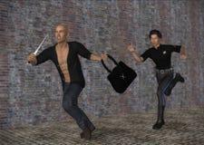 Polisen haffar att jaga rånaren som snappar handväskaillustrationen Arkivbild