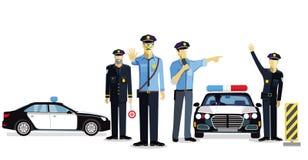 Polisen kontrollerar, övervakar bruk royaltyfri illustrationer