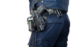 Polisen man med det isolerade vapenbältet royaltyfri fotografi