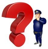 Polisen med frågefläcken Royaltyfria Bilder