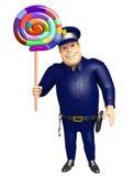 Polisen med Lollypop royaltyfri illustrationer