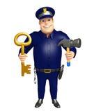 Polisen med och hammare Royaltyfri Foto