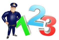 Polisen med tecken 123 stock illustrationer
