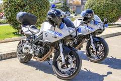 Polisen patrullerar motorcyklar Bulgarien varna 22 04 2018 fotografering för bildbyråer