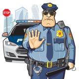 Polisen patrullerar, stoppar tecknet Royaltyfria Bilder