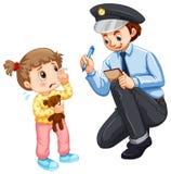 Polisen som antecknar det borttappade barnet Arkivfoton