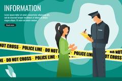 Polisen som fr?gar information fr?n en vittne f?r ung kvinna stock illustrationer