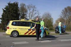 Polisen utforskar efter en olycka Fotografering för Bildbyråer