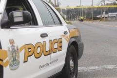Polisen utforskar motorfordonFatality Fotografering för Bildbyråer