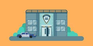 Polisfasaden av byggnaden Polisstation och avdelning white för stil för polis för bilcartoonish bild isolerad Plan design stock illustrationer