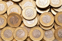 Polish 2 pln coins background. Polish 2 pln - zloty - coins background. Selective focus royalty free stock photos