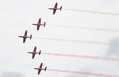 Polish aerobatic team Bialo-czerwone Iskry stock photography