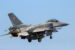 Polish Air Force F-16C Fighting Falcon fighter jet royalty free stock photo