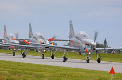 The Polish Air Force Orlik Aerobatics Team parade on runway Stock Photo