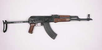 Polish AK47 AKMS. Polish version of the AK47 (AKMS) assault rifle Stock Photos