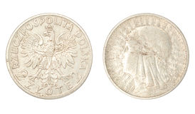 Polish ancient silver coin Stock Image