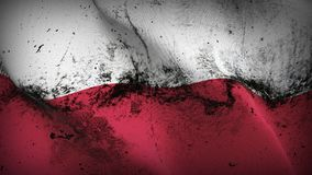Poland grunge dirty flag waving on wind. Polish background fullscreen grease flag blowing on wind. Realistic filth fabric texture on windy day Royalty Free Stock Photos