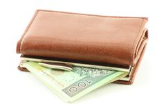 Polish banknote in wallet Royalty Free Stock Images