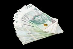 Polish money isolated on black. 100 PLN royalty free stock photography