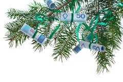 Polish banknotes on christmas tree Royalty Free Stock Photo