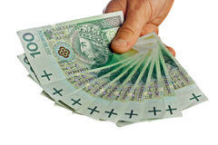 Polish banknotes hundred in hands Stock Photography