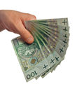 Polish banknotes hundred in hands Stock Images
