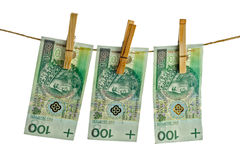 Polish banknotes hundred on string Royalty Free Stock Photos