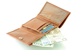 Polish Banknotes In Wallet Stock Photography