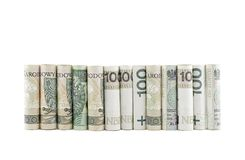 Polish banknotes rolled up Stock Photo