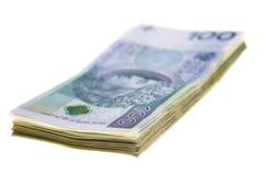 Polish banknotes stacked isolated on white background royalty free stock image