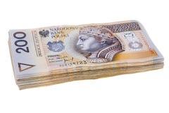 Polish banknotes on white stock photography