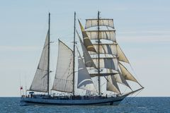 Polish barquentine STS Pogoria under sail stock photography