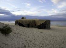 Polish beach. Bunker at the Polish beach royalty free stock photography