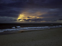 Polish beach. Dark morning at the Polish beach royalty free stock photo