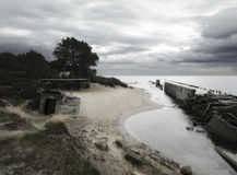 Polish beach on Hel. Bunkers on Hel in Poland Stock Photography