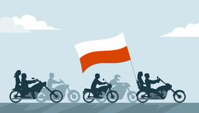 Polish bikers on motorcycles with national flag Stock Photography