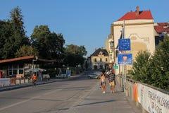 Polish border with the Czech Republic in Cieszyn Stock Photos