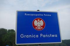 Polish border. Border sign in Poland Stock Photos