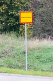 Polish border sign on the road to Republic of Lithuania.  stock image